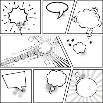 Comic strip and comic speech bubbles