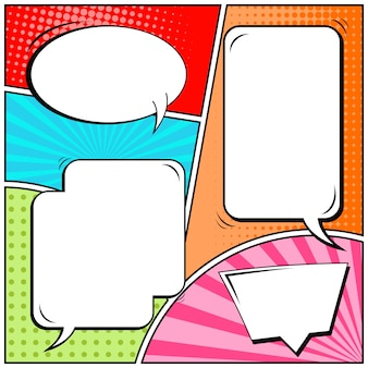 Comic strips or vignettes in pop art style with blank speech bubbles
