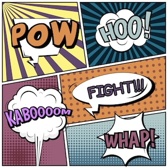 Comic strips or vignettes in pop art style with speech bubbles: pow, hoo, kaboooom, fight!