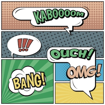 Comic strips or vignettes in pop art style with speech bubbles