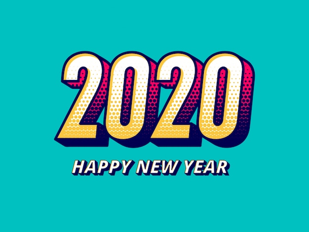 Comic style 2020 new year greeting
