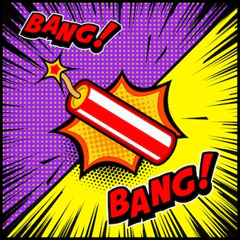 만화 스타일 다이너마이트 폭발 그림입니다. 포스터, 배너, 전단지 요소입니다. 삽화