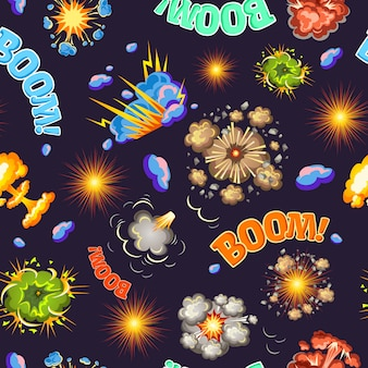 Comic style explosions seamless pattern