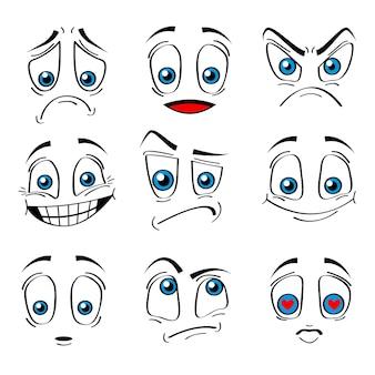 만화 스타일 얼굴 감정 표현 세트 행복, 슬픔, 사랑과 분노 흰색 배경에 고립. 벡터 일러스트 레이 션