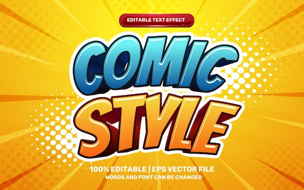 Comic style hero cartoon game 3d editable text effect on halftone background