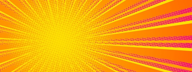 製品プレゼンテーション用の放射状ビームを備えたコミックスタイルの水平バナー。明るいオレンジ色の赤と黄色。ベクトルイラスト