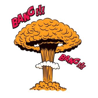 Ядерный взрыв в стиле комиксов на белом фоне. элемент для плаката, карты, баннера, флаера. иллюстрация