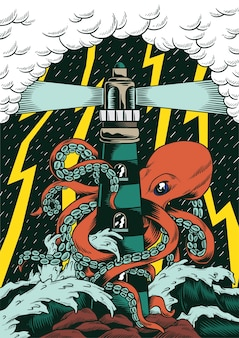 Comic style octopus attacking lighthouse