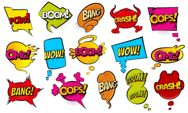 Comic style speech bubbles collection. funny design  items illustration. icons in pop art style. comic wording sound effect