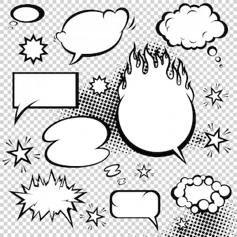 Comic style speech bubbles collection