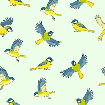 Comic style titmouse spring birds colorful seamless pattern