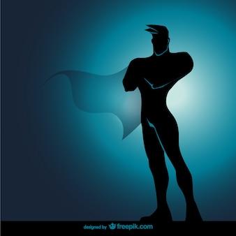 Comic супергероя стоя силуэт