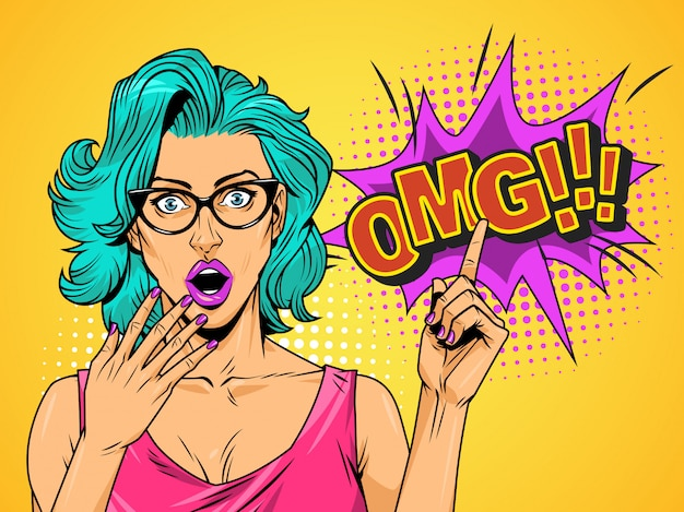 Comic surprised pretty girl on halftone background