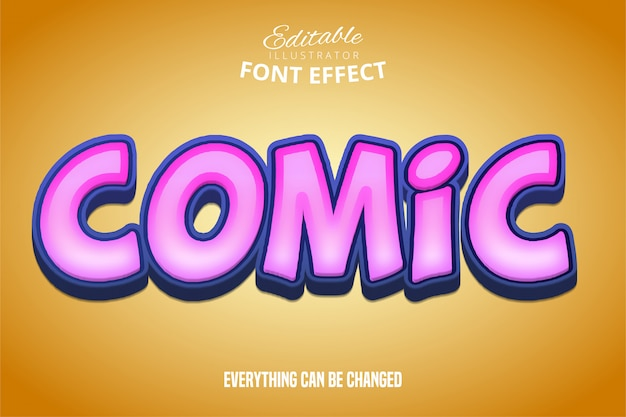 Comic text, 3d purple and orange editable font effect