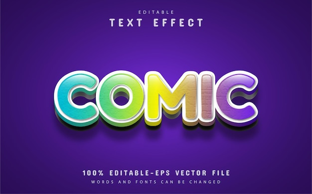 Comic text effect editable