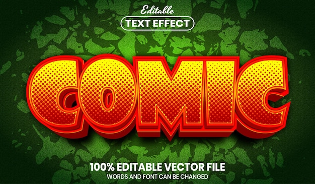 Comic text, font style editable text effect