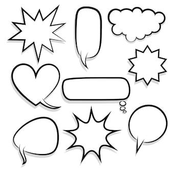 만화 텍스트 연설 거품 하프톤 도트 배경 큰 세트 그림 빈 템플릿 팝 아트 스타일