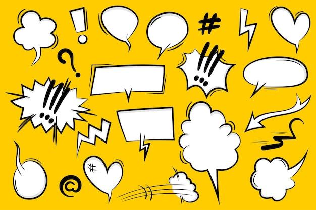 만화 텍스트 연설 거품 팝 아트 스타일입니다. 흰 구름 이야기 연설 거품의 집합입니다. 텍스트에 대 한 격리 된 흰색 연설 거품 이야기 실루엣입니다. 웹 sms 메시지 채팅을 위한 텍스트 만화 디자인 요소입니다.