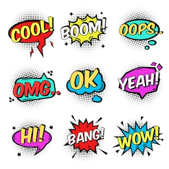 Comic text speech bubbles and bursts set