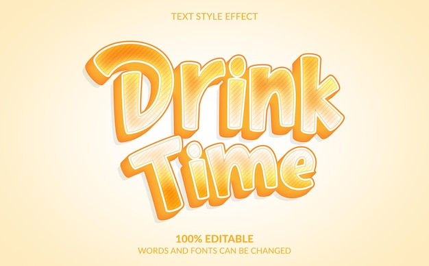 Comic text style effect drink time text style