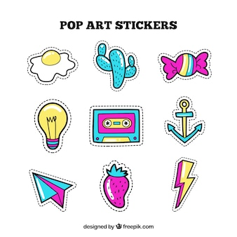 Comic variety of colorful stickers