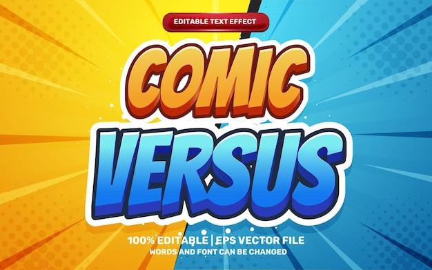 Comic versus cartoon hero ediable text effect style 3d template on halftone background