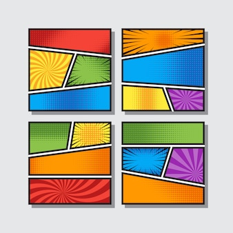 Comic vignettes blank with pop art style in different colors. background vector illustration.