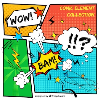 Comic vignettes with onomatopoeia