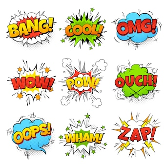 Comic words. cartoon speech bubble with zap pow wtf boom text. comics pop art balloons set