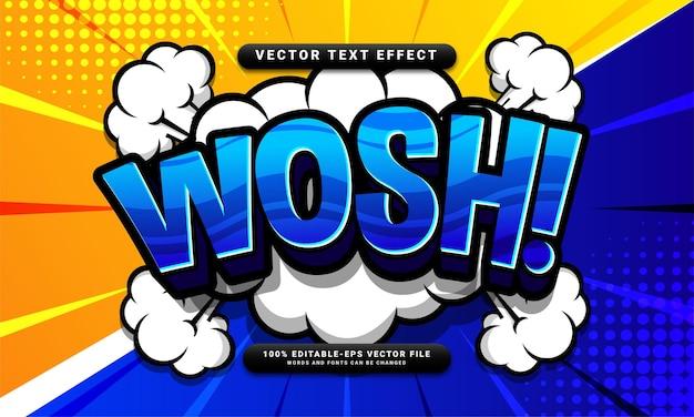 Комикс wosh редактируемый текстовый эффект, подходящий для концепции мультяшного стиля