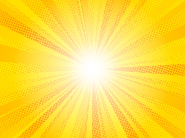 Comic yellow sun rays background pop art
