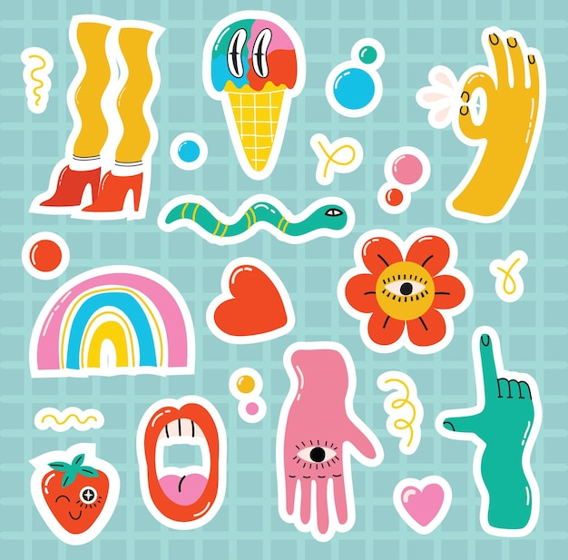 Comic youth stickers, patches in 70's 80's, 90's rock, pop art style. speech bubbles, different emotions, text. teen colorful vector set