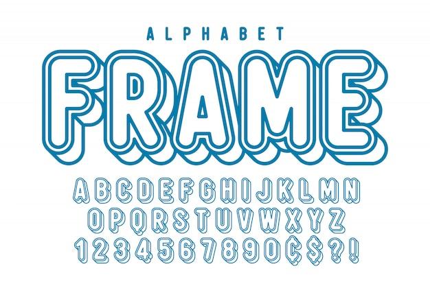 Comical linear font  , colorful alphabet, typeface