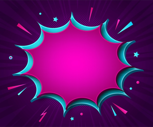 Comics background. cartoonish pink and blue explosions in pop art style with sound effects on violet with radial stripes.
