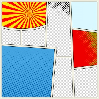 Comics book template background in different colors