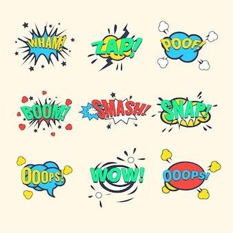 Comics exclamations, speech bubble  set