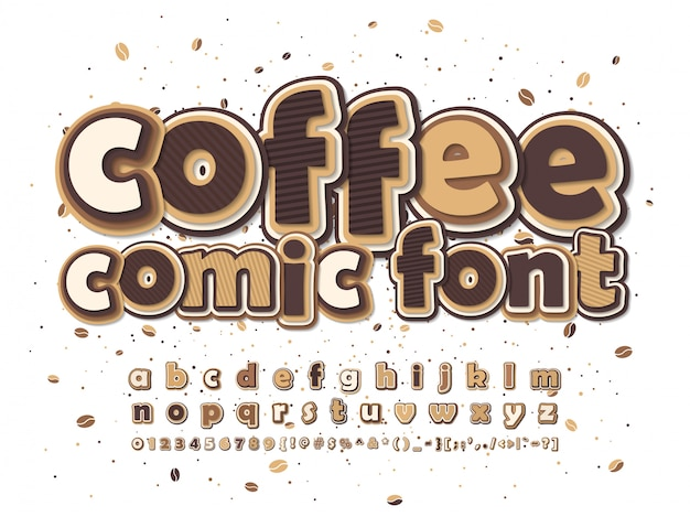 Comics font. brown and beige cartoon alphabet