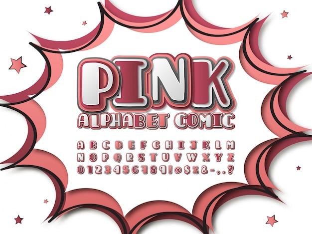 Comics font. cartoon alphabet in pop art style