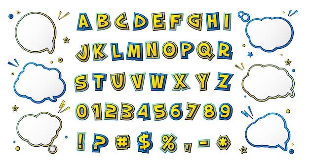 Comics font, cartoonish alphabet in style of pop art.
