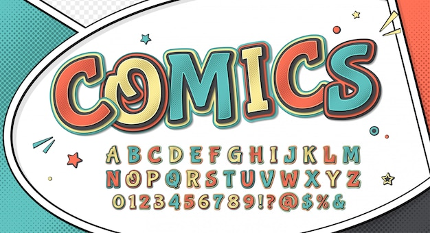 Comics font. cartoonish retro alphabet on comic book page