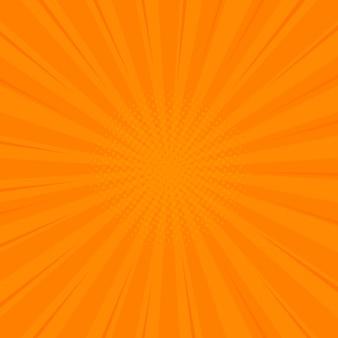 하프 톤 모서리와 만화 오렌지 복고풍 배경입니다. 여름 배경. 만화책, 포스터, 광고 디자인을위한 레트로 팝 아트 스타일
