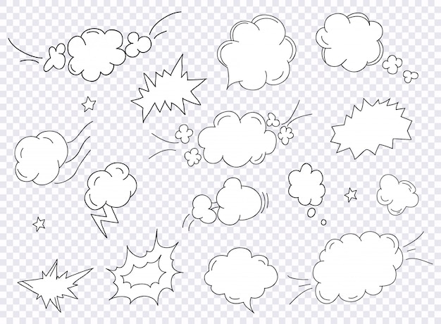 Comics pop art style blank layout template with clouds beams.