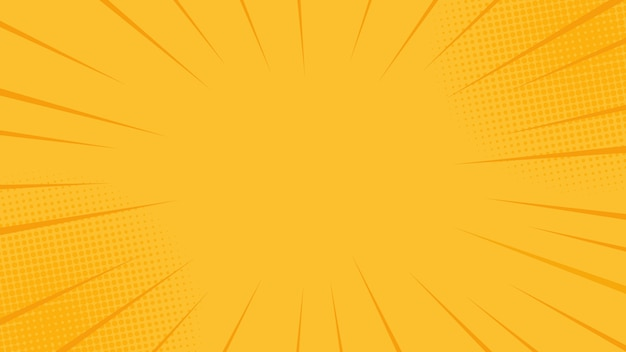 Comics rays background with halftones. summer yellow backdrop.  in retro pop art style