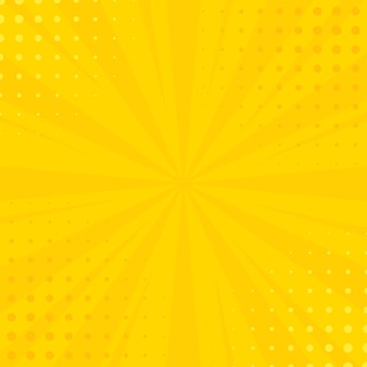 コミックは、ハーフトーンで背景を光線します。あなたのイラストの夏の黄色の背景をベクトル