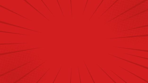 コミックは、ハーフトーンで赤い背景を光線します。漫画本、ポスター、広告デザインのレトロなポップアートスタイルで
