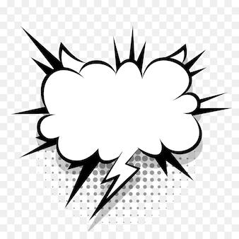 텍스트 팝 아트 디자인을 위한 만화 말풍선입니다. 문자 메시지 하프톤 그림자에 대한 흰색 빈 대화 구름입니다. 만화는 폭발 스플래시 만화책 텍스트 스타일을 스케치합니다. 와우 효과 만화 벡터 요소