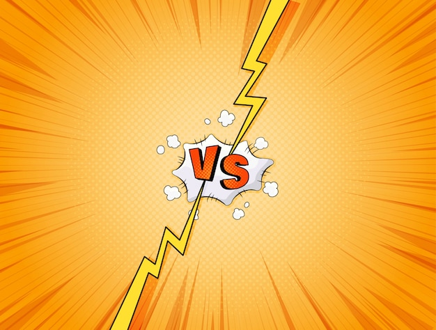 Comics style. versus vs fight illustration. super  background for design, text and illustrations. backdrop with halftone, lightning and bomb explosive in pop art style.