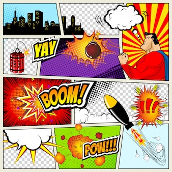 Comics template. retro comic book speech bubbles illustration