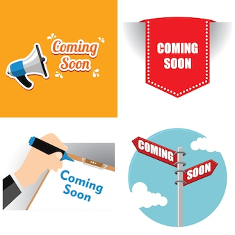Coming soon announcement with speaker ribbon and board