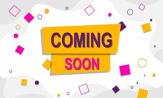 Coming soon background with colorful geometrics vector illustration